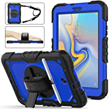 Galaxy Tab A 8.0 Case ONLY Model SM-T387 2018, (NOT FIT Other Galaxy 8.0), Shockproof Full-Body Rugged Armor Case with 360 Rotating [Hand] Stand Pen Holder for Samsung Tab A 8.0 SM-T387 - Blue+Black