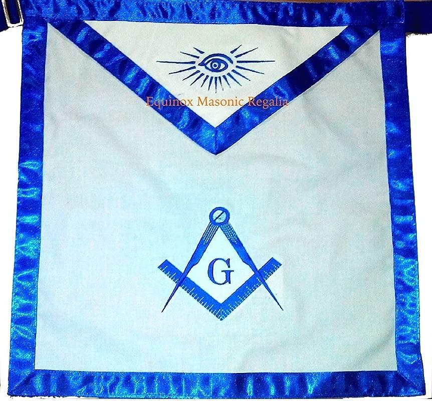 Masonic Master Mason Apron 16x16 White Cloth Machine Embroidered 1 Inch Royal Blue Satin Borders By Equinox Masonic Regalia