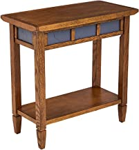 Phoenix Home Tilburg Chair-Side Solid-Wood End Table with Slate Panels and Bottom Shelf, Antique Oak