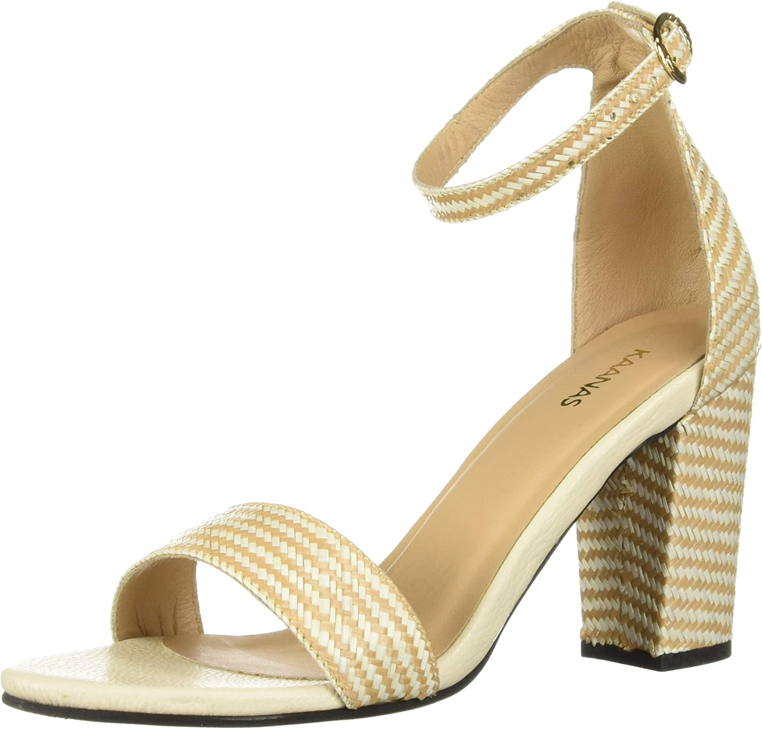 KAANAS Womens Glasgow Straw Open Tow Heeled Ankle Strap Sandal shoes Flat Sandal