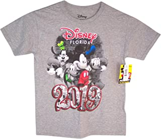 Disney Youth Unisex 2019 Dated Four Fun Mickey Goofy Donald Pluto (FL Namedrop) Gray Tee