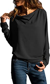 Womens Tops Long Sleeve T Shirt Cowl Neck Tunic Casual Solid Blouse S-XXL