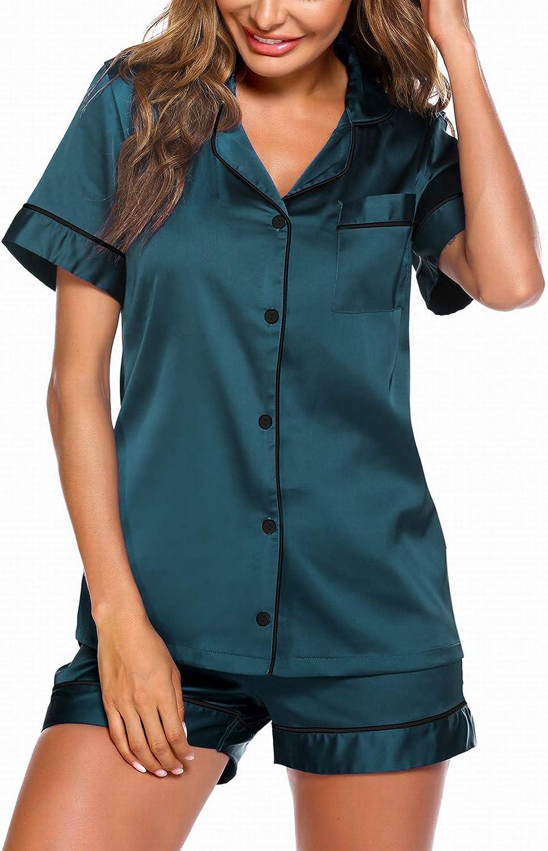 Ekouaer Satin Pajamas Women's Short Sleeve Sleepwear Soft Silk Button Down Loungewear Pjs Shorts Set S-XXL
