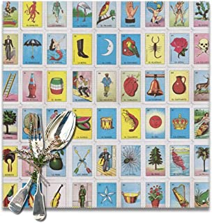 Colorful Mexican Loteria Cards Placemat Set of 6 Non-Slip Insulation Placemat Washable Table Mats Easy to Clean(6pcs Placemats, Grey)