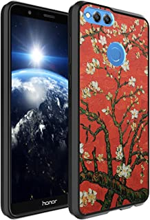 Huawei Honor 7X Case, Capsule-Case Hybrid Slim Hard Back Shield Case with Fused TPU Edge Bumper (Black) for Huawei Honor 7X - (Red Almond Branches in Bloom)