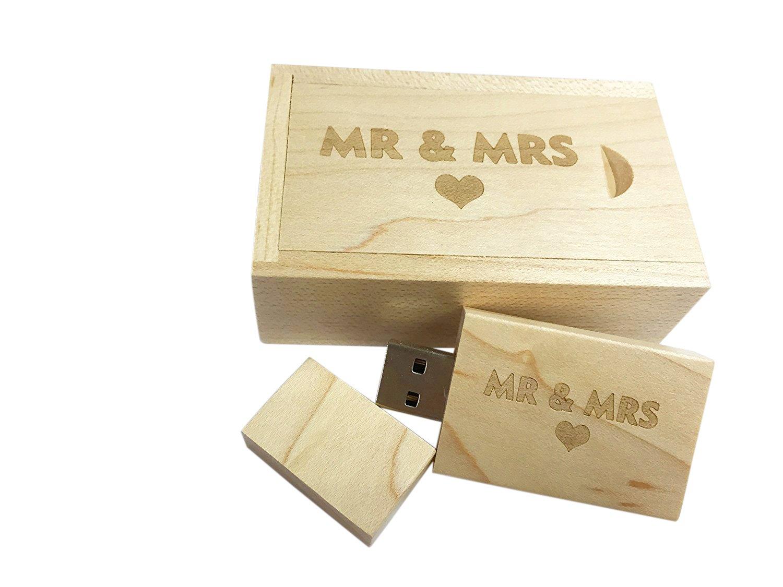 dodjivi Arce Madera USB Flash Drive con láser Grabado MR & Mrs diseño – 16 GB Unidad