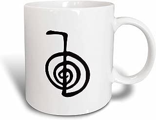 3dRose mug_154526_1 Reiki Power Symbol Cho Ku Rei Choku Rei for Protection Cleaning Clearing Energy or Boosting Healing Ceramic Mug, 11 oz, White