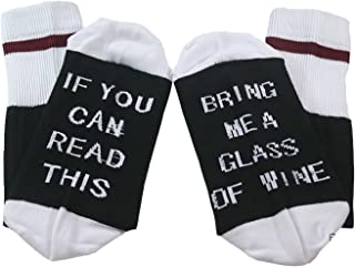 IF You Can Read This Bring Me a Glass Of Wine Funky Crew Socks (Black1)
