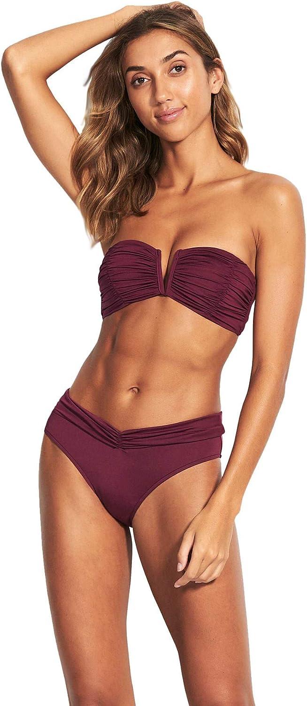 Seafolly Women's Ruched Bandeau Bikini Top Swimsuit