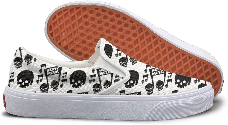 SEERTED Heavy Rock Music Badge Skull Casual Sneakers for Women Slip On