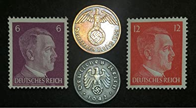 Authentic Rare Nazi 3rd Reich Reichspfennig with SWASTIKA and Hitler Stamp Collection Lot, Long History - Long time Worth, Suitable for Collectors
