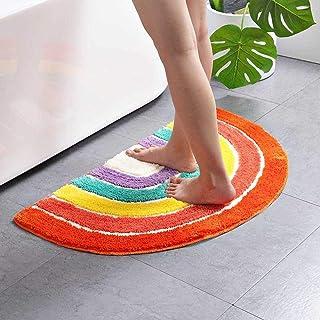 Multicolour Half Round Bathroom Mat Rainbow Microfiber Non-Slip Absorbent Bath Shower Rugs for Living Room Bedroom Kitchen...
