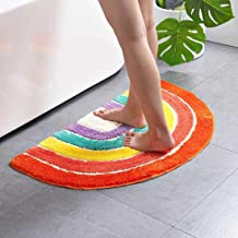 Multicolour Half Round Bathroom Mat Rainbow Microfiber Non-Slip Absorbent Bath Shower Rugs for Living Room Bedroom Kitchen...