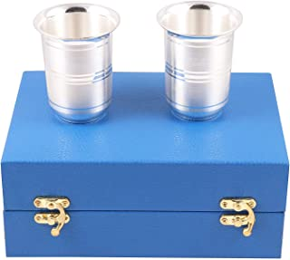 Msa Jewels Presents Pure 92.5 Silver Glass Set of 2 with BIS Hallmark ( 6 cm * 8 cm, 90 Grams)