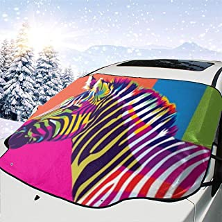 Glamor Pandora Car Windshield Cover Reversible Multipurpose Ice Snow Off Shade Protector and Sun Visor with Rainbow Zebra Design, Frost Protection Cover Fits Most Car, SUV, Truck, Van