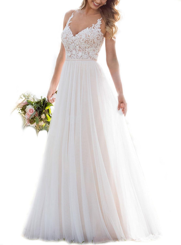 WeddingDazzle Bridal Dresses Spaghetti A-L Online limited product Straps Luxury goods Lace Appliques