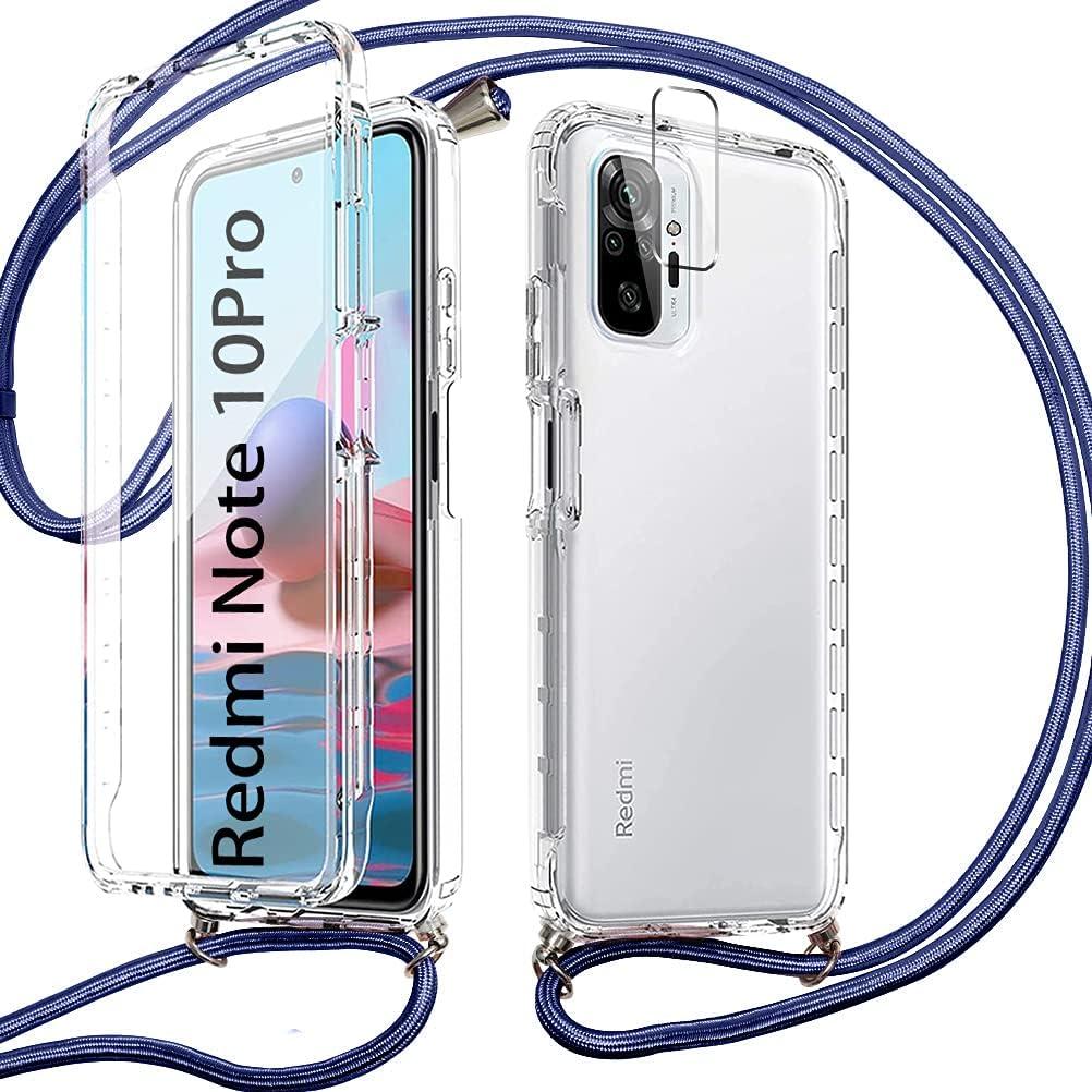 Pnakqil Funda con Cuerda para Xiaomi Redmi Note 10 Pro 4G/Pro MAX +1 x Película de Lentes Estuche para teléfono de Silicona TPU de 360 Grados con cordón Ajustable para Correa para el Cuello -Azul