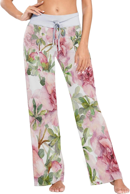MSACRH Pajama Super sale Max 64% OFF period limited Pants for Women Sleepwear Flowers Wide Pink