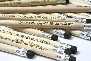 Matite di legno x25 con testo personalizzato, regalo per gli ospiti per matrimonio, gomma nera