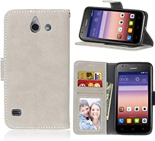 Classic Leather Phone case for Huawei Ascend Y550, Solid Color Premium PU Leather Wallet Case Flip Folio Protective Case Cover with Card Slot/Stand Fashion Phone Cover
