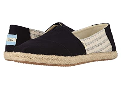 TOMS Alpargata on Rope (Black Ivy League Stripes on Rope) Women