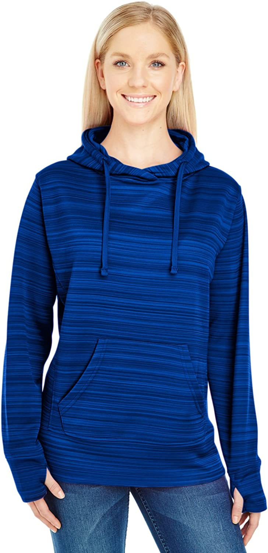 Ladies' Striped Poly Fleece Lapover Hood SAPPHIRE STRIPE 2XL