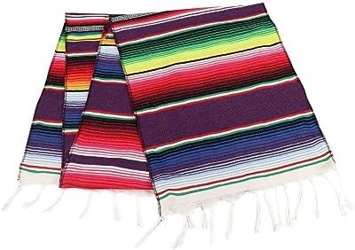 """no!no! Made in Mexico Table Blanket/Cloth/Runner Mexican Authentic Corredor De La Mesa Sarape Mexicano 11""""x 80"""" Boda Fiesta Weddings Parties Decoration Walls"""