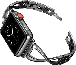 Secbolt Stainless Steel Band Compatible Apple Watch Band 38mm 40mm Women Iwatch Series 5/4/3/2/1 Accessories Metal Wristband X-Link Sport Strap, Black