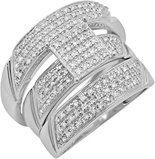 0.65 Carat (ctw) Round White Diamond Men`s and Women`s Engagement Ring Trio Set, Sterling Silver