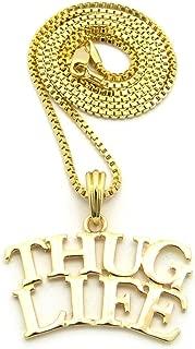 Crescendo SJ INC New Thug Life Pendant &2mm/24 Box Chain Hip HOP Necklace - XSP485BXG