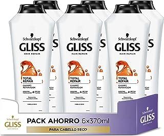 GLISS - Champú Total Repair - 6uds de 370ml (2.220ml) – Para cabello seco – Gama reparación