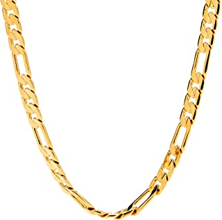 6mm Figaro Chain Gold Necklace for Men and Women with up...