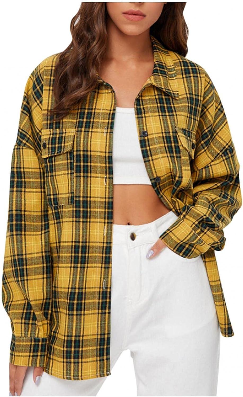 Women's Long Sleeve Collar Button Down Plaid Shirt Pockets Mid-Long Casual Boyfriend Blouse Tops Jacket