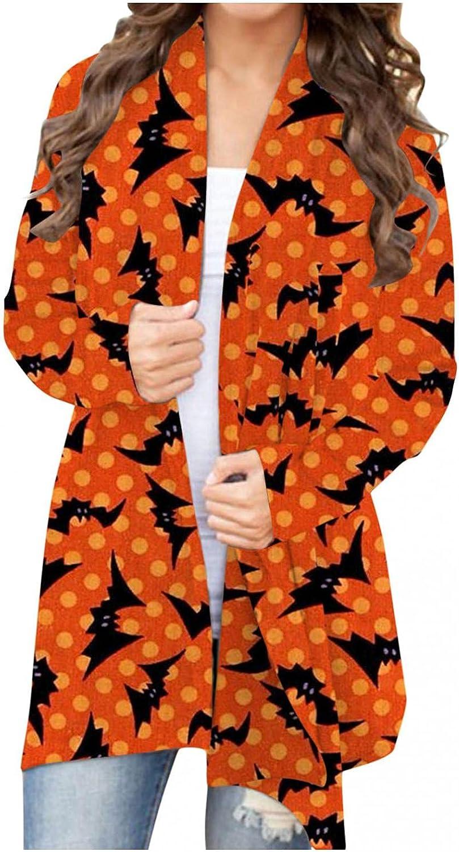 AODONG Halloween Cardigan for Women Lightweight Long Sleeve Open Front Cardigan Cat Pumpkin Graphic Coat Tops