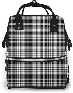 Diaper Backpack Maternity Baby, Abstract British Tartan Pattern, Large Capacity, Waterproof and Stylish