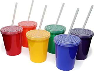 Rolling Sands 16oz Reusable Plastic Stadium Rainbow Cups with Lids, 6 Pack, USA Made; Plastic Tumblers and Lids, Includes ...