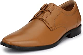 HiREL'S Men's Leather Derby Lace Up Formal Shoes