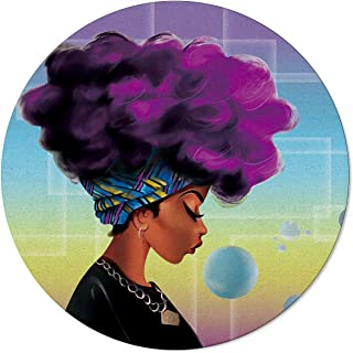 Modern Round Area Rugs Diameter 5ft, Soft Carpet Floor Mat for Kids Study Playroom/Living Room Crawling Mat, African Woman with Purple Hair Blow Bubbles Machine Washable Non Slip Rugs Mats