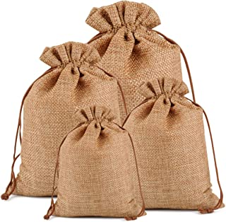"""Lucky Monet 25/50/100PCS Burlap Gift Bags Wedding Hessian Jute Bags Linen Jewelry Pouches with Drawstring for Birthday, Party, Wedding Favors, Present, Art and DIY Craft (25Pcs, Coffee, 4"""" x 6"""")"""