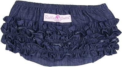 RuffleButts Baby/Toddler Girls Denim Ruffled Diaper Cover Bloomer