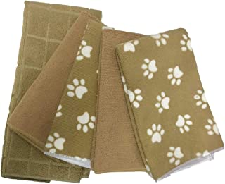 Bundle of Five Towels - 4 Microfiber Lint Free Paw Print Towels, one Solid Tan Hand Towel - Window Cleaning, Bar Cloth