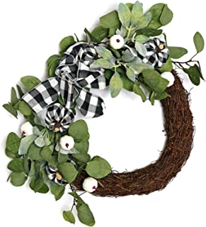 WsCrafts 24 Inch Fall Farmhouse Wreath - Natural Grapevine Base Containing Plaid Cloth Bowknot and Pumpkin; Eucalyptus Leaves; Lamb's Ear Leaf, Autumn Wreaths for Holiday Outdoor Display