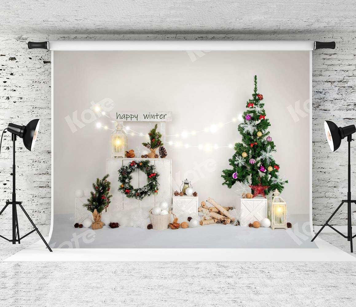 Kate 10x6.5ft Merry Christmas Photography Backdrop Brick Wall Background Christmas Tree Backdrop Party Decoration
