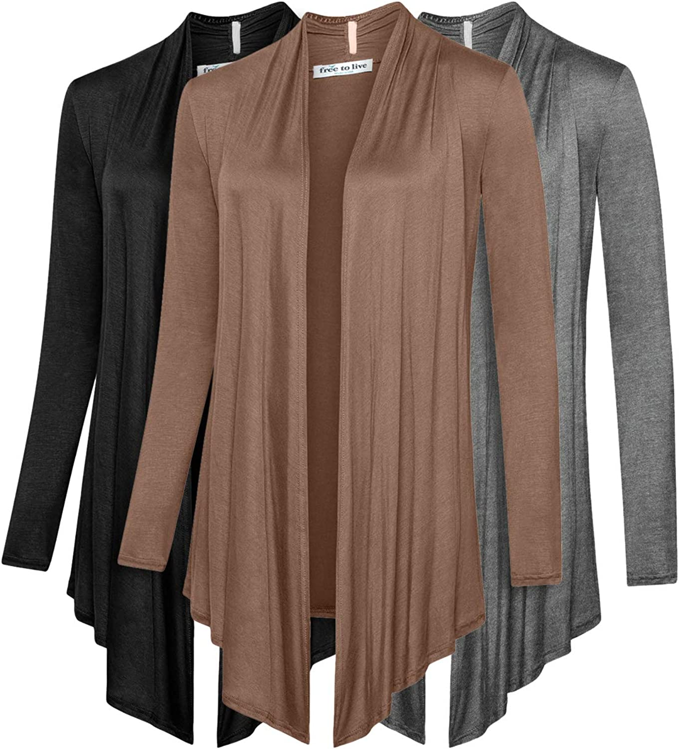 Free to Live 3 Pack Women's Cardigan - Light Weight Sweater with Open Front