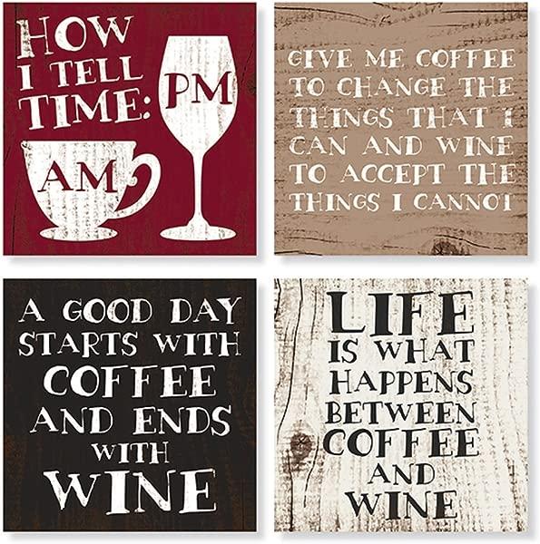 Set Of 4 Coffee Wine Square Stone Coaster Set By Carson Home Accents Multicolor