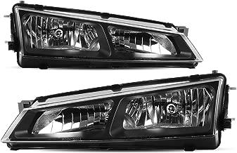 For 1997 1998 Nissan 240SX / Silvia (S14 Kouki) Black Bezel JDM Headlight Lamp Set Pair