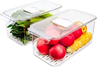 SANNO Produce Saver Refrigerator Organizer Bins with Lids And Removable Drain Tray Food Storage Container Fridge Stackable...