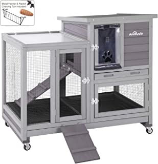 Aivituvin Upgrade Rabbit Hutch Rabbit Cage Indoor Bunny Hutch with Run Outdoor Rabbit..