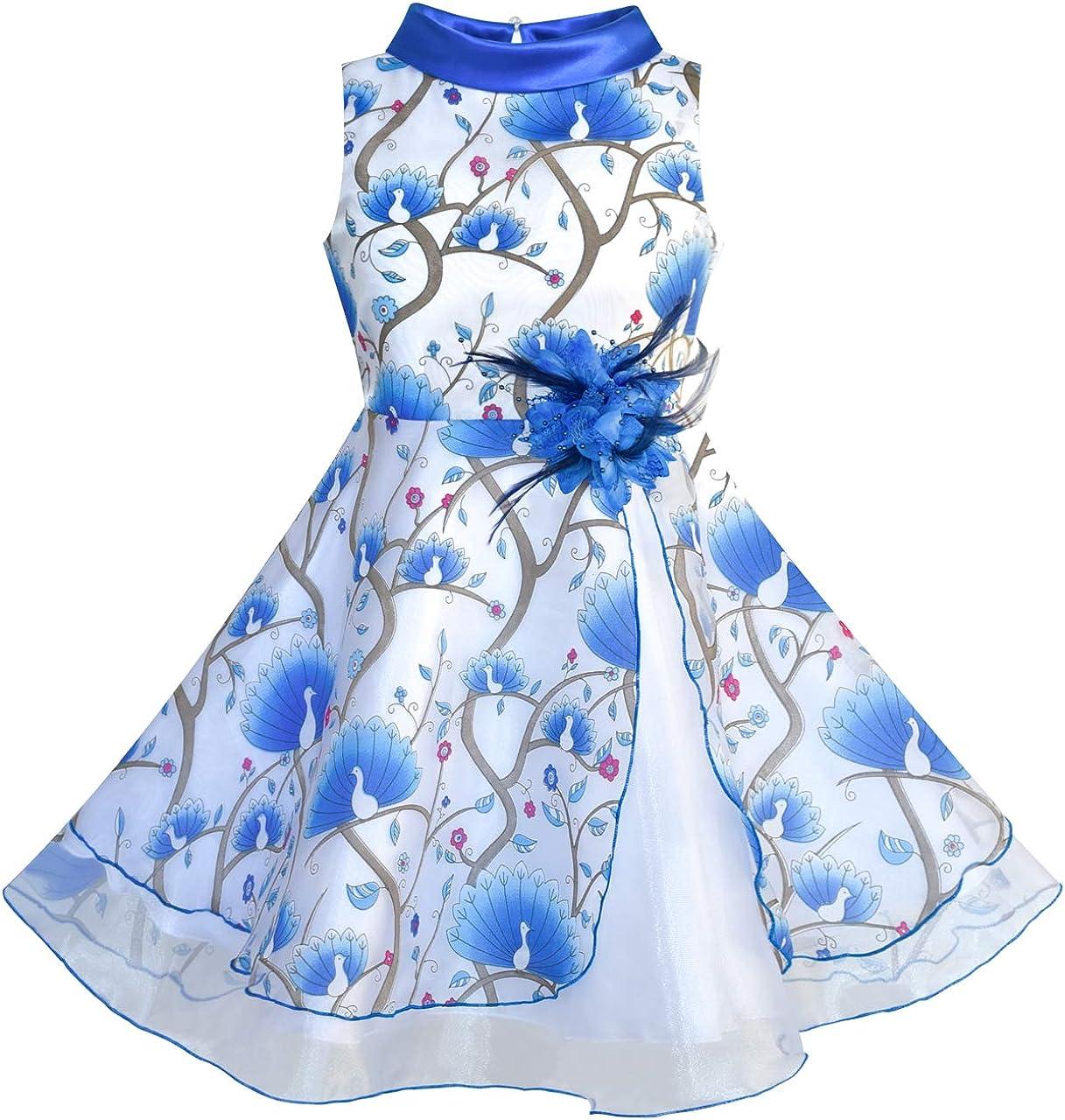 Sunny Fashion Flower Girls Dress Blue Peacock Wedding Bridesmaid Size 6-12