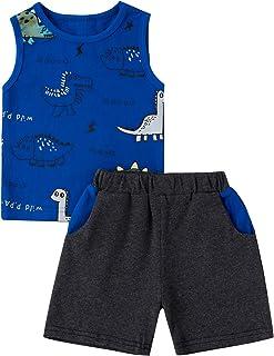 Toddler Baby Boy Dinosaur Shorts Set Short Sleeve Shirt Sleeveless Tank Top and Shorts Summer Outfits Clothes Set